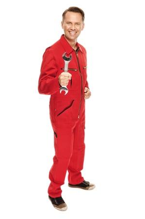overall: Mec�nico en guardapolvo rojo