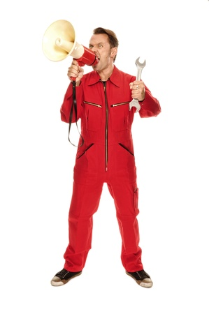 madly: Mechanic in red Overall - screaming madly; isolated on white