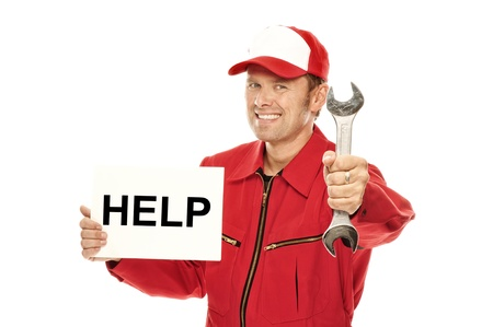 overall: Mechanic in red Overall