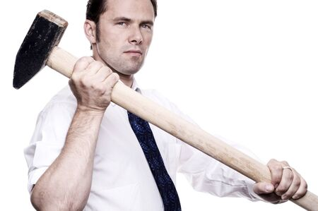 demolishing: Business man with sledge hammer Stock Photo