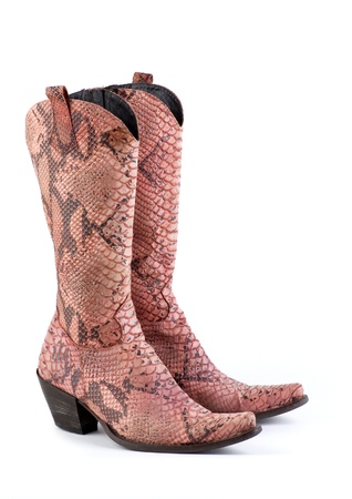Pink Snake Leather Cowboy Boots Stock Photo