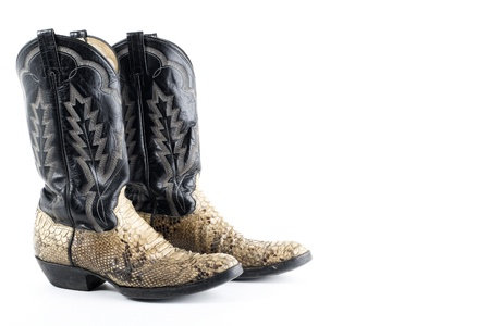 Snake leather cowboy boots on white photo