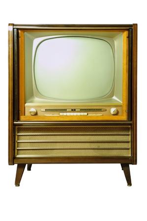 Vintage television isolated on white Stock Photo