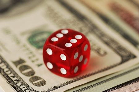 Dice and Dollar Banknotes, very shallow DOF photo