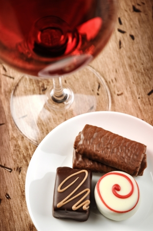 Wine an chocolate Archivio Fotografico