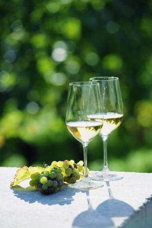 Twee glazen witte wijn in de wijngaard