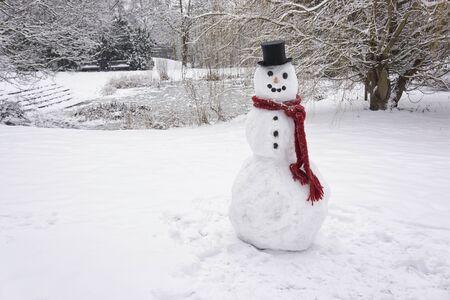winter landscape: Snowman standing in winter landscape
