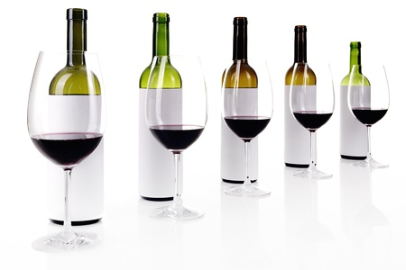 Blind wine tasting on white, masked labels of wine bottles, selective focus Stock Photo