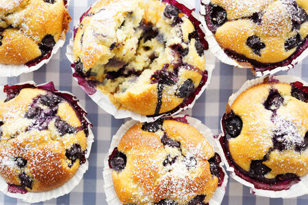 blueberry muffin: Blueberry Muffins, selective focus Stock Photo