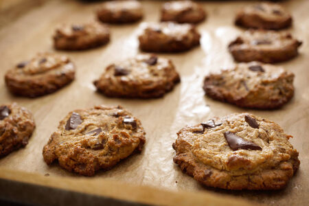 Flourless Peanut Butter Chocolate Chip Cookies On Baking Sheet, selective focus photo