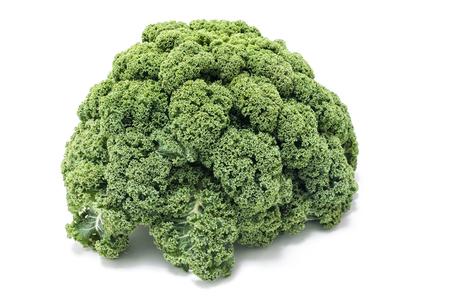 Kale fresca en el fondo blanco, vegetales de invierno Foto de archivo - 26095775