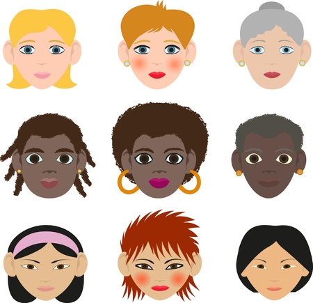 ages: female faces of different ages of different races Illustration