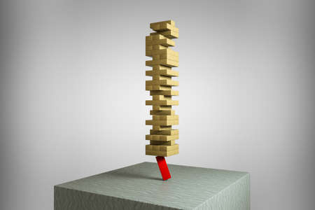 A red wooden block holds the tower of wooden blocks. Leadership or new opportunities or motivation or business concept or succession planing and devepment or mind foundry concept. 3D illustration.