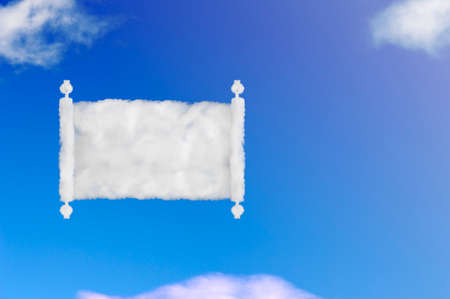 opened scroll of papyrus shape of cloud on blue sky.