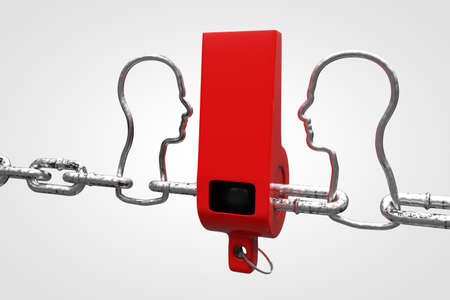 Whistle attached to a chain in the shape of a human head demonstrating person in society or a company exposing corruption concept. 3D illustration