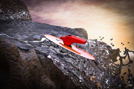 Whistle on a plank against a waterfall demonstrating person in society or a company exposing corruption concept. 3D illustration