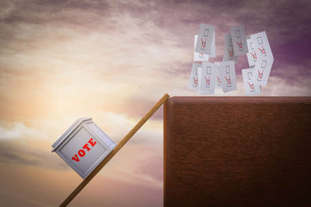 Ballot box climbs a ladder to catch votes demonstrating Searching for votes concept. 3D illustration 版權商用圖片