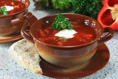 goulash: Goulash soup with bread