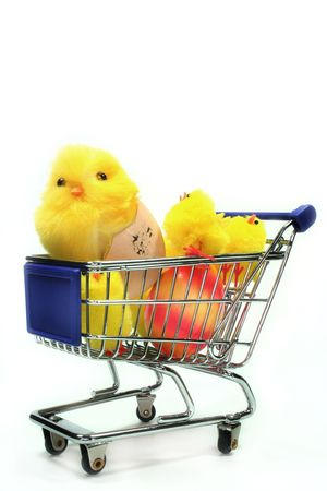 laden: Cart laden with Easter chicks and Easter Egg Stock Photo