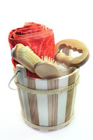 Wooden bucket with various sauna accessories Stock Photo - 6515220