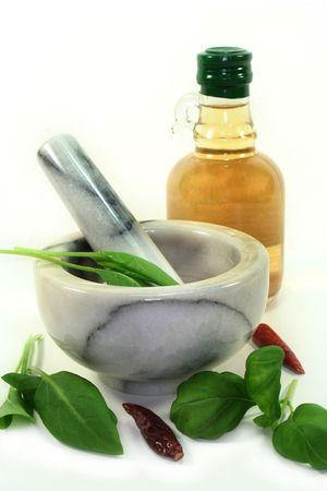 lowering: Fresh ingredients for an herbal vinegar Stock Photo