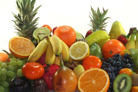 fruit market: Fruit mix of exotic and indigenous fruit Stock Photo