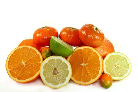 different citrus fruits on white background Stock Photo - 6651303