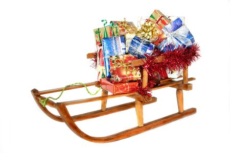 laden: Sleds laden with many gifts Stock Photo