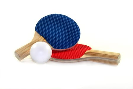 two table tennis bat and ball on a white background photo