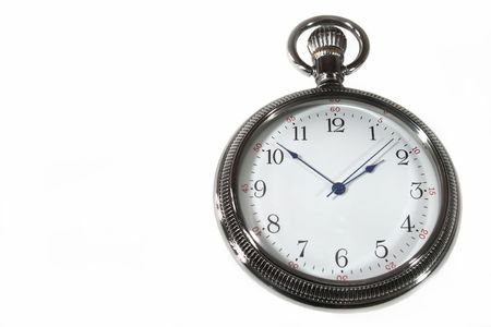 ticking away: Pocket watch on a white background