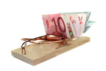 tense mousetrap with euro notes photo