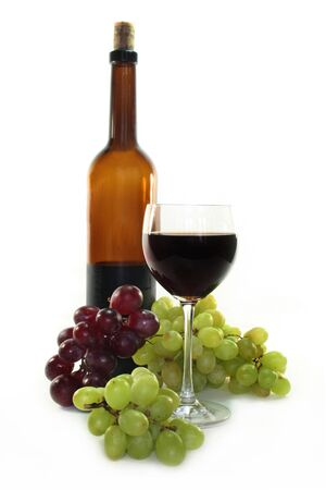 Red wine and dark and bright grapes on a white background Stock Photo - 6781522