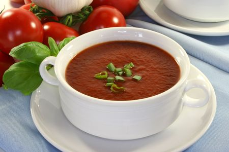 Tomato soup with basil and fresh vegetables Stock Photo - 6856624