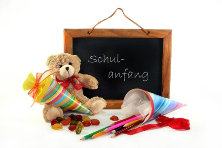 Blackboard and Teddy cornet with a white background Stock Photo - 6966740