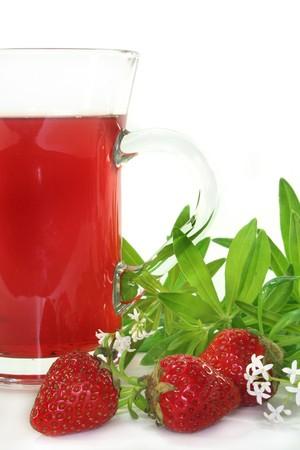 Strawberry Woodruff Tea with fresh strawberries and woodruff Stock Photo - 7084829