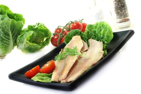 Trout fillet served with lettuce and tomato Stock Photo - 7151140