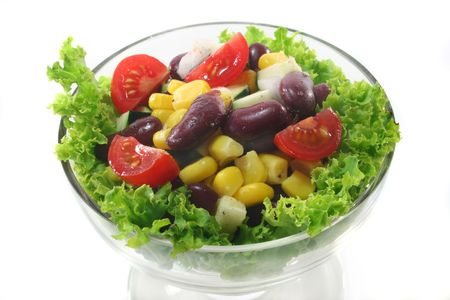 mixed salad in a bowl on a white background Stock Photo - 7202177