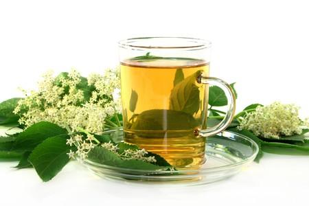detoxification: a cup of Elderflower tea with fresh flowers