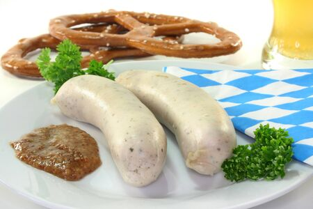 veal sausage: veal sausage with sweet mustard and pretzels