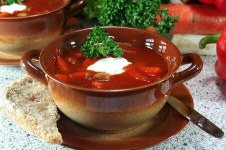 soljanka: a cup Soljanka with parsley and cream Stock Photo