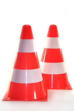 redirection: two pylons in front of white background