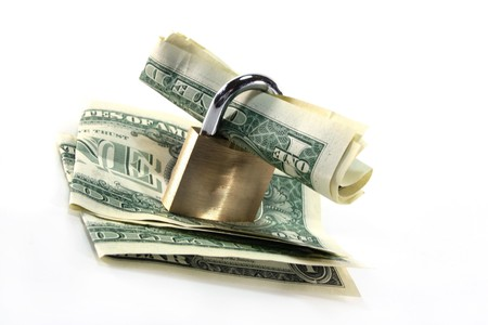 fixed rate: Padlock with dollar bills in front of white background