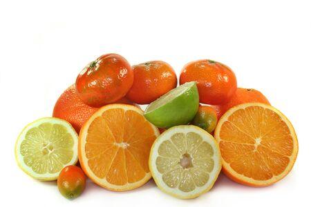 various citrus fruits on white background Stock Photo - 8142153