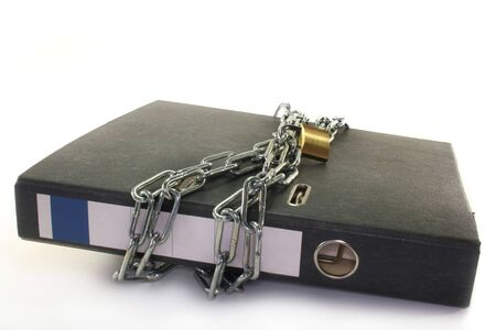 confidentiality: a file folder with a lock and chain
