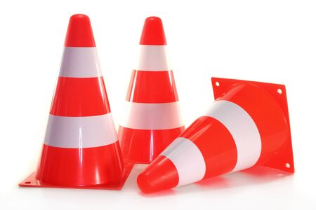 optional: three pylons in front of white background Stock Photo