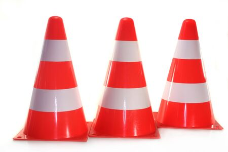 redirect: three pylons in front of white background Stock Photo