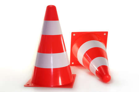 redirect: two pylons in front of white background