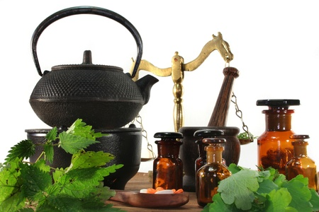 naturopathy: fresh herbs and spices on a white background Stock Photo