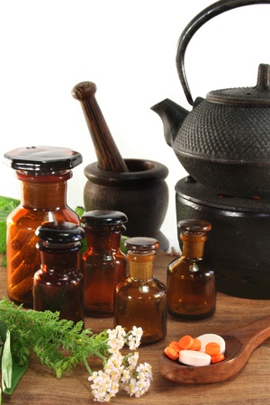 homeopathic: fresh herbs and spices on a white background Stock Photo