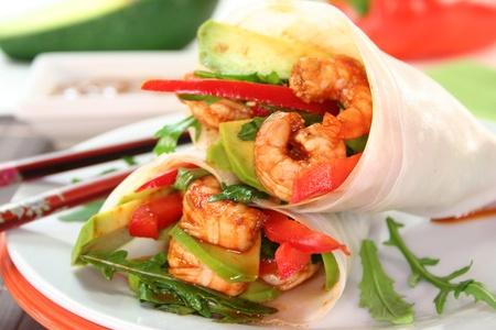 Wrap with shrimp, avocado and arugula